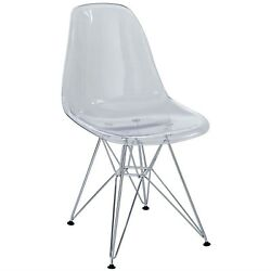 Paris Modern Transparent Molded Plastic Dining Side Chair w Steel Frame Clear