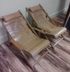 2 Vintage CHILD'S FOLDING Chairs - SPLIT BAMBOO & Wood - CHAISE LOUNGE DECK Pair