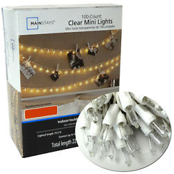 100 Clear Mini Lights Bulbs Christmas Wedding Tree String Outdoor White Wire  $10.99