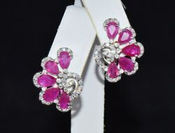Certified Natural 7.1Cts VS F Diamond Ruby 18K Solid Gold Floral Clip Earrings