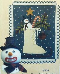 Skating Through The Holidays Snowman Wool Applique Penny Rug Mat Pattern 17 x 21