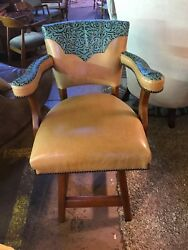 4 Western Style Bar Stools with deer hide and tooled leather