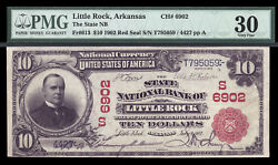 $10 1902 Red Seal State National Bank of Little Rock Arkansas CH 6902 PMG 30