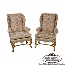 Baker Pair of Flame Stitch Queen Anne 18th Century Style Wing Chairs