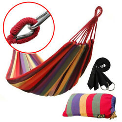 Cotton Rope Hanging Hammock Swing Camping Canvas Bed w Heavy Duty Strap amp; Hook $18.88