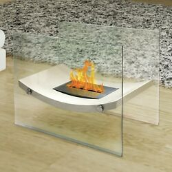 Modern Fire Pit Table Retro Fireplace Beige Glass Bio Ethanol Indoor Outdoor