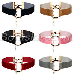 Women's Gothic Round O-Ring Circle Suede Velvet Collar Necklace Choker Jewelry