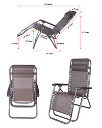 2PC Zero Gravity Folding Lounge Chairs Beach Patio Outdoor Recliner Chair New