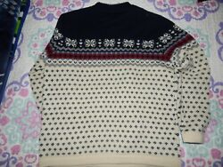 Lands End M Women's Nordic Wool Sweater Navy Cream Maroon Excellent Used