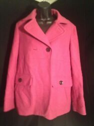 GAP Medium Pink Pea Coat Size Large Wool Blend Great Used Condition