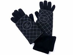 Authentic Chanel Cashmere Long Winter Gloves Women Black Coco Mark Unused Y280