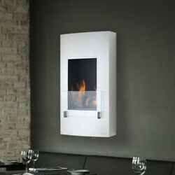 Wall Mount Ethanol Fireplace Stainless Steel Glass Burner Modern Indoor Outdoor