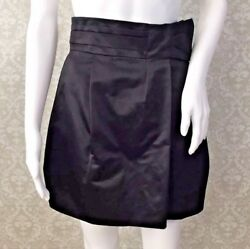 BCBG Max Azria Runway Sz 4 Satin Skirt Black Bow Tie Mini Skirt- NWT