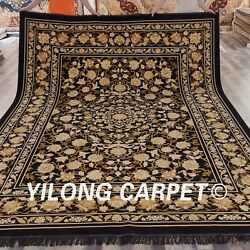 YILONG 9'x12' Handknotted Silk Persian Carpet All-over Floral Indoor Rug W221A