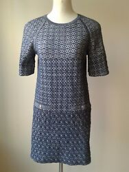 CHANEL Grey Blue Silver Shimmer Knit  Dress (Size 42US 10)