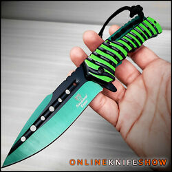 TACTICAL ASSISTED OPENING POCKET KNIFE Green Spring Folding Blade RESCUE EDC $15.95