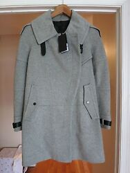 *NEW* BELSTAFF WOMEN'S FARLOW CITY TRENCH COAT Wool Cashmere - Light Grey Sz 38
