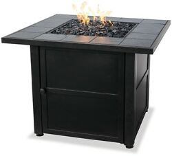 Fire Pit Bowl LP Gas Outdoor Slate Mantel Electronic Large Square Fireplace Bowl