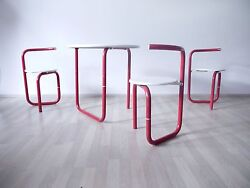 VINTAGE 70s 80s MODERNIST POP ART METAL OUTDOOR GARDEN FOLDING TABLE AND CHAIRS