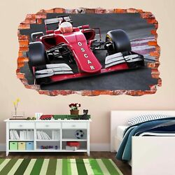 Racing Car Custom Personalised Kids Name 3D Smashed Wall Sticker Mural Decal DG1 GBP 22.99
