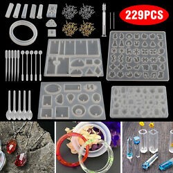 229pcs Resin Casting Silicone Molds Epoxy Spoon Kit Jewelry Making Pendant Craft $18.97