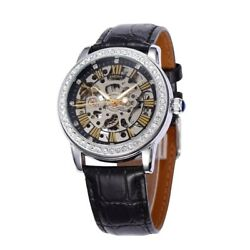 New Women#x27;s Luxury Crystal Transparent Skeleton Automatic Mechanical Wrist Watch $21.99