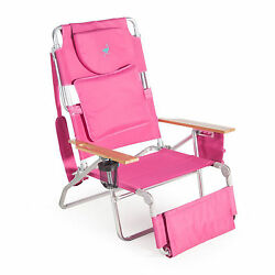 Outdoor Chaise Lounge 3 In 1 Patio Beach Camping Hiking Furniture Chair Pink New