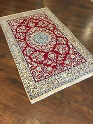 4 X 6 Original Handmade Wool And Silk Persian Naien Rug