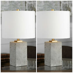 NEW PAIR STAINED CONCRETE TABLE LAMPS LINEN SHADES UTTERMOST DESK LIGHT $202.66