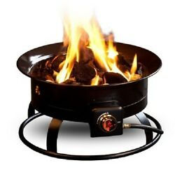 Propane Fire Pit Gas Campfire Outdoor Heater Round Ring Adjustable Flame wRocks