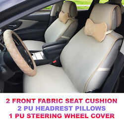 Beige cloth 2 front car seat cover+2Pu leather head pillow+steering wheel cover