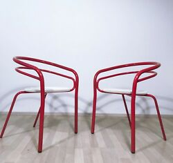 PAIR OF VINTAGE 1960s 1970s LACQUERED METAL GARDEN CHAIRS