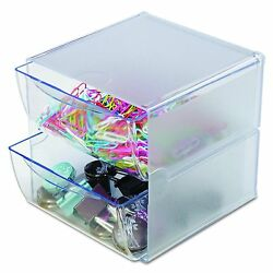 Office Desk Plastic Cube Organizer 2 Clear Drawer Stackable Craft Supply Storage $27.73