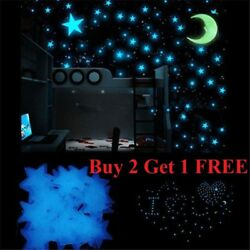 100 pcs Pack Glow In The Dark 3D Stars Moon Stickers Bedroom Wall Room Decor DIY $5.99