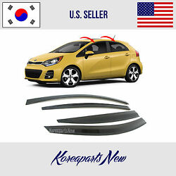2S TAPE SMOKED DOOR WINDOW VISOR DEFLECTOR fits for KIA RIO HATCHBACK 2012-2017 $37.31