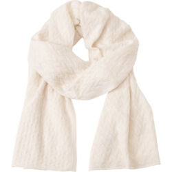 Kinross Cashmere Cable Luxury Scarf - Ivory HatsGlovesScarve NEW