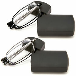 DOUBLETAKE Metal Compact Folding Reading Glasses with Carrying Case, 2 pair $14.49