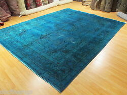 10x13 PERSIAN Blue OVERDYED Mashad Designer Handmade-knotted Wool Rug 580570