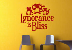 Wall Vinyl Sticker Bedroom Words Sign Quote Ignorance Bliss Ape Monkey Z972 $26.09