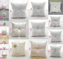 Ivory Satin Flower Girl Basket Wedding Ring Bearer Cushion Pillow Lace Floral