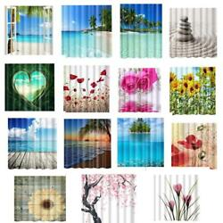 Shower Curtain Room Polyester Panel Drapes Charming Natural Scenery Print