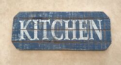 KITCHEN Rustic Style Blue amp; White Wood Sign Distressed Look 16quot; x 6quot; $14.99