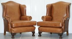 PAIR OF RESTORED BROWN LEATHER CIRCA 1860 WINGBACK ARMCHAIRS CLAW