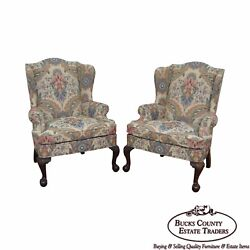 Woodmark Original Pair of Mahogany Ball & Claw Foot Chippendale Style Wing Chair