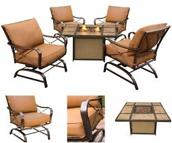Patio Conversation Set 5 Piece Outdoor Lounge Chairs Cushion Gas Fire Pit Table