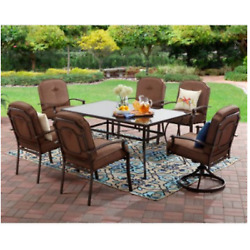 7 Piece Outdoor Dining Set Cushion Chairs Table Patio Garden Furniture 2 Swivel
