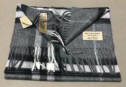 Burberry Cashmere Classic Check Scarf  Mid Grey NWT!
