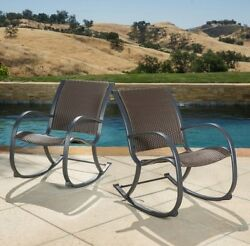 Patio Rocking Chairs Pair Set Of 2 Wicker Large Rockers Poolside Backyard Garden