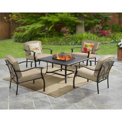 Garden 5 Piece Steel Conversation Sets Outdoor Patio FirePit Heater Table Chairs