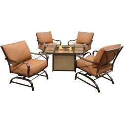 Garden 5 Piece Steel Conversation Sets Outdoor Patio Gas Fire Pit Table Chairs
